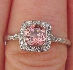 Engagement Ring Pale Peach Tourmaline in 14k Gold and Diamond Halo October Birthstone Gemstone Jewelry Morganite Alternative. $620.00, via Etsy.