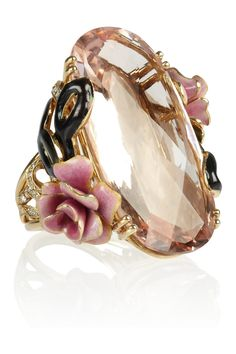 """This Lydia Courteille""""Carnaval A Venise 18-karat gold, morganite and diamond ring"""" has enamel. Don't often see that done to gold! Cost = a car."""