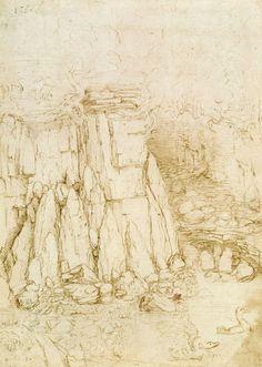 A rocky ravine  Leonardo da Vinci (Vinci 1452-Amboise 1519)  #TuscanyAgriturismoGiratola