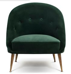 Malay Armchair in Cotton Velvet With Matte Aged Brass Base Wingback Armchair, Modern Armchair, Mid Century Modern Furniture, Upholstered Chairs, Cafe Furniture, Furniture Factory, Green Velvet Armchair, Mid Century Armchair, Wood Arm Chair