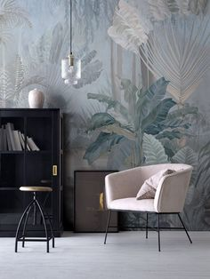 Chinoiserie Forest Mural Wallpaper Repeat, Home Decor Wall Murals, Fantasy Plants and Heron Wallpaper, Wall Decor, Wallpaper Chinoiserie Wallpaper, Bird Wallpaper, Home Wallpaper, Pattern Wallpaper, Wallpaper Lounge, Asian Wallpaper, Wall Decor, Room Decor, Asian Decor