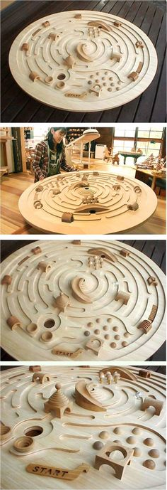 Large Swivelling Wooden Labyrinth by Ginga Kobo Toys, Japan - An immense spaceship labyrinth with a diameter of 120cm. The marblesque 3 cm. large glass balls roll around circling towards the center. Aim for the chute which leads into the mouth of the volcano! Creative obstacles block the way! Great to encourage cooperative play, as 2 or 3 kids can work together to conquer the labyrinth.: