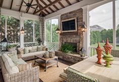 Flat fireplace design.  It doesn't encroach on the furniture plan.    Porch Design Inspiration, Pictures, Remodels and Decor