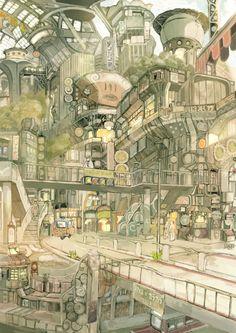 The Art Of Animation, TekkonKinkreet by Imperial Boy (Teikoku Shounen) Animation Background, Art Background, Matte Painting, Painting & Drawing, Illustrations, Illustration Art, Image Pinterest, Bg Design, Blender 3d