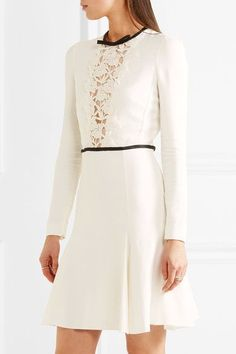Ivory and black crepe and guipure lace Concealed hook and zip fastening at back  Fabric1: 98% viscose, 2% elastane; fabric2: 80% cotton, 20% polyester; fabric3: 100% polyamide; fabric4: 100% silk Dry clean  Made in Italy