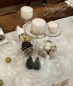 Scraphexe: weihnachtliche Deko mit (umgedrehten) Gläsern - schnell, und passt immer ;.)