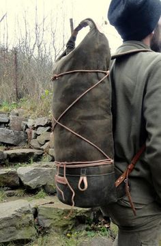 Sold Handmade waxed canvas rolltop pack.