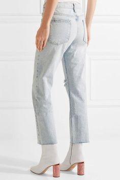 Current/Elliott - The Crossover Distressed Mid-rise Straight-leg Jeans - Light denim -