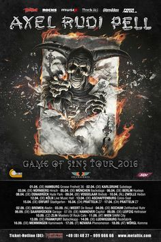 """SPV GmbH / Steamhammer => Axel Rudi Pell """"Game Of Sins"""" European Tour 2016 confirmed!   - """"Game Of Sins"""" Europen Tour confirmed - - New album out January 15th 2016 (USA January 22nd 2016) -  German guitar wizard AXEL RUDI PELL confirms the European Tour for the new album """"Game Of Sins"""". Besides countries like Germany, Switzerland, Austria, Belgium, Holland and the Czech Republic it will be the first time that he will play in Italy."""