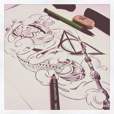 switch the Elder wand with Snape's Harry Potter Love, Harry Potter Fandom, Harry Potter World, Harry Potter Drawings, Harry Potter Tattoos, Hp Tattoo, Body Art Tattoos, Snitch Tattoo, Tatoos
