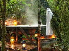 Outdoor bath at Hurunui Jacks Freibad bei Hurunui Jacks Outdoor Bathtub, Outdoor Bathrooms, Indoor Outdoor, Outdoor Decor, Outdoor Showers, Outdoor Spaces, Outdoor Living, Cabins In The Woods, Ubud
