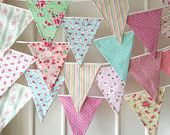 Shabby Chic Fabric Banners, Bunting, Garland, Wedding Bunting, Pennants, Flags - 25 ft (extra long)