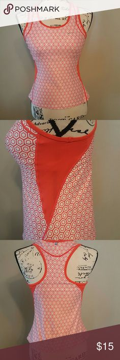 """Nike Running Tank Top Nike Women Airborne ll Tank Top. Color is an or orangish coral and white with a built in bra for support(bust measurement is 32 1/2"""" - 35 1/2""""). Dri fit moisture wicking fabric, stretch fit, lightweight, rib scoop neck & armholes, side panels and racer back for extra range of motion. Good condition. Light-weight wear. Nike Tops Tank Tops"""