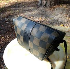 Vintage Fendi triangular handbag/purse.  Classic checkerboard pattern.