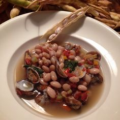 Mid-summer in a bowl: freshly picked borlotti bean minestrone with clams!