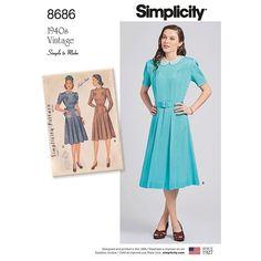 Misses Vintage Dresses Simplicity Sewing Pattern 8686 | Sew Essential