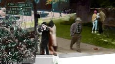 The Assassination of John F. Kennedy. The Kennedy car speeds past the Forthworth Turnpike sign toward the Parkland Hospital. In the foreground, composites of Abraham Zapruder filming while his secretary, Marilyn Sitzman, supports him. The man with the stetson hat walking away is from a later FBI film reconstruction and represents the conspiratorial elements of the assassination.  A young African-American couple who were never identified lunch on the grassy knoll and immediately fle...