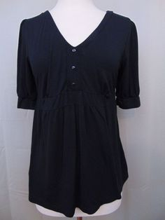 Ann Taylor Loft Maternity Blouse Black 3/4 Sleeve Size Small #691 #AnnTaylorLOFT #Blouse #Casual
