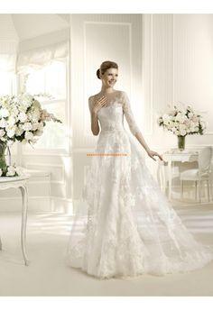 Robe de mariée avec manches tulle application dentelle perles