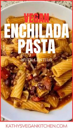 Vegan One Pot Enchilada Pasta is perfect for an easy weeknight meal.  With rigatoni, lentils and blackbeans this dinner is packed with nutrients and flavor.  #summermeal #dinnerrecipe #easymeals Vegan Dinner Recipes, Delicious Vegan Recipes, Vegan Dinners, Pasta Recipes, Whole Food Recipes, Tasty, Pasta Dinners, Meals, Enchilada Pasta