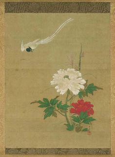 Oriental, Edo Period, Chinese Art, Japanese Art, Peony, Bird, 17th Century, Painting, Image