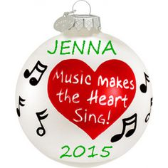 Music Makes the Heart Sing Glass Personalized Ornament. This ornament and many more can be found at https://www.ornaments.com