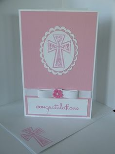 Pink First Communion Card by RiverIsis - Cards and Paper Crafts at Splitcoaststampers First Communion Cards, Confirmation Cards, Spellbinders Cards, Card Making Techniques, Graduation Cards, Card Sizes, Crosses, Christening, Wedding Cards