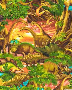 Jurassic Dinosaurs - Jungle Green