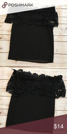 Black Off the Shoulder Top This is 👀 through. Size small. Would fit an XS as well. Bust is app 34 inches. NWOT Boutique Tops