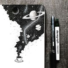 An entire universe of flavor inside a cup of coffee ☕️. An entire universe of flavor inside a cup of coffee ☕️. Space Drawings, Ink Pen Drawings, Drawing Sketches, Sketch Art, Ink Pen Art, Drawing With Pen, Simple Art Drawings, Black Pen Sketches, Space Artwork