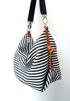 Maxi-Tasche, Messenger Tasche, Wickeltasche Marina Navy Blue Maxi bag, messenger bag, diaper b Diy Fashion, Fashion Bags, Fashion Accessories, Trendy Fashion, Blue Fashion, Fashion Ideas, Messenger Diaper Bags, Bag Essentials, Striped Canvas