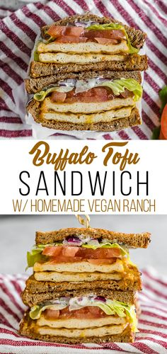 A delicious and easy to make buffalo tofu sandwich with homemade vegan ranch dressing - sweetsimplevegan.com #vegan #sandwich #buffalo #tofu #entree #veganized #veganlunch #ranchdressing