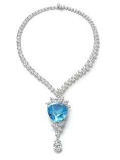 Harry Winston one-of-a-kind Paraiba tourmaline diamond drop necklace.