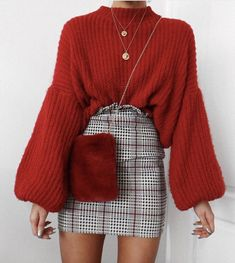 Autumn/Winter: Prince of Wales red stripe ruffle waist mini skirt, red bell sleeve jumper, red fur crossbody bag, layered necklaces