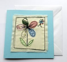 Stitched card  greeting card feminine  applique  by itsaMessyNest