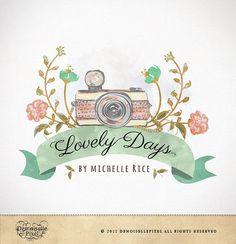 Photography Logo Custom Premade Watercolor Camera & Flowers Design for Photographers. $39.90, via Etsy.