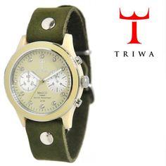 TRIWA(トリワ)×Tarnsjons レザー リストウォッチ 腕時計 オリーブ×アイボリー【送料無料】 wc-triwa-045
