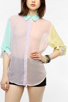 Reverse Pastel Colorblock Blouse  #UrbanOutfitters