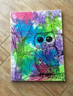 Whimsical Owl art/ woodland animals / owl by SiBelleJewelry