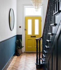 Imperfect interiors beth dadswell interior garden designer dulwich living hallway beth dadswell designer dulwich garden hallway imperfect interior interiors living 55 scandinavian hallway to work on today Front Stairs, Entryway Stairs, Stairs Kitchen, Front Hallway, Interior Garden, Home Interior Design, Interior Design Yellow, Hall Interior, Color Interior