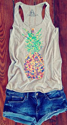Colorful Speckled Pineapple Print Tank