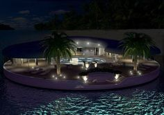 Atoll Floating Islands, a joint venture between Palmerstone and Donald Starkey Designs presented Ome, a floating island home concept for Dubai. Floating Deck, Floating House, Floating Island, Luxury Life, Luxury Homes, Luxury Estate, Open Swimming Pools, Island Villa, Futuristic Home