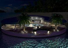 Floating paradise at night