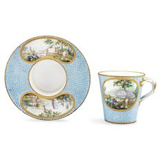 A Sèvres socketed cup and saucer circa 1765-70 SOLD. 6,500 GBP