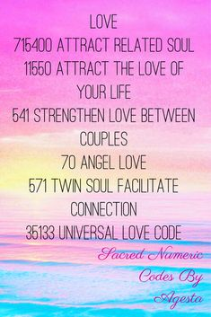 Sacred Numeric Codes By Agesta for Love Matters. Energy Healings.