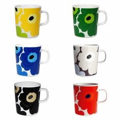 Marimekko Unikko Mugs - Set of 5 The lovely Marimekko Unikko design is now on a newly designed mug. Marimekko is now using the Oiva design stoneware mug by Sami Ruotsalainen to showcase their signature Unikko poppy flower pattern. Marimekko, Coffee Mug Sets, Mugs Set, Couple Mugs, Red Mug, Stoneware Mugs, Vintage Pottery, Dot And Bo, Retro Design