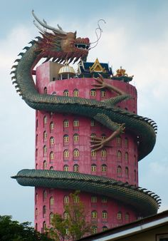 The Dragon Building inWat Samphran, Thailand by Jorge Macedo