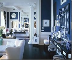 Lobstergirl said: Hague Blue by Farrow and Ball.Drawing Room Blue, Farrow and Ball.More Drawing Room Blue. Navy Blue Rooms, Blue And White Living Room, Navy Blue Walls, My Living Room, Living Room Decor, Dining Room, White Rooms, White Walls, Blue Bedrooms