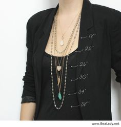 Ever wonder about necklace lengths? Take a look at Leah Alexandra Jewelry's visual guide! Wondering how a necklace length will look when it's on? Or which lengths to layer with what? Use this as your visual guide! Jewelry Accessories, Fashion Accessories, Jewelry Design, Fashion Jewelry, Women Jewelry, Fashion Clothes, Coin Pendant Necklace, Locket Necklace, Necklace Guide