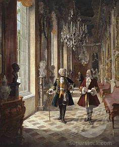 Frederick the Great's Sanssouci Interior | Frederick the Great & Voltaire in the Picture Gallery at Sanssoucica ...